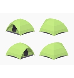 Low poly green camping tent vector