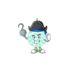 Mascot disco ball as a pirate having one hook hand vector