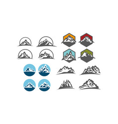mountain design template set vector image