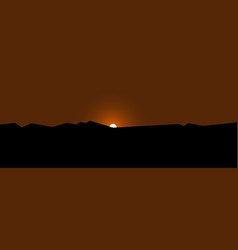 mountains sunset wallpaper sun behind horizon vector image