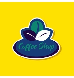 paper sticker on stylish background Coffee shop vector image