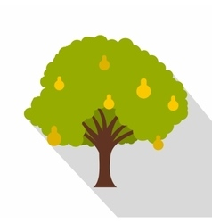 Pear tree with yellow pears icon flat style vector image