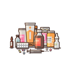 pharmacy pharmacology drugstore medical vector image