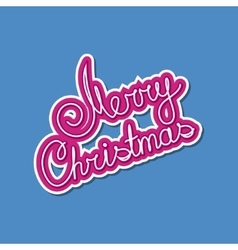 Pink text merry christmas on blue background vector