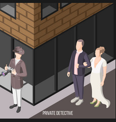 Private detective isometric background vector