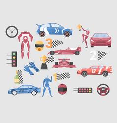 racing car flat set vector image