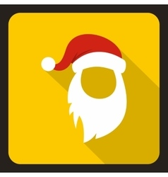Red hat and long white beard of Santa Claus icon vector image