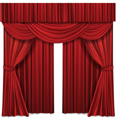 Red stage curtains realistic vector