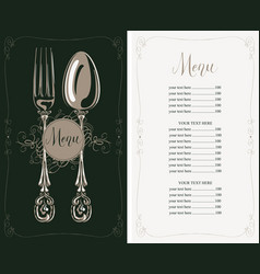 Restaurant menu with price list fork and spoon vector