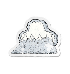 Retro distressed sticker of a cartoon mountain vector