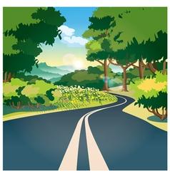 Road through woods vector