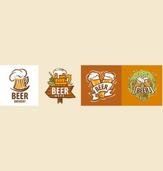 set beer mug logos on different vector image