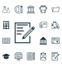 Set of 16 education icons includes e-study vector