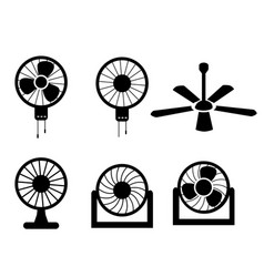Set of fan icons in silhouette style vector