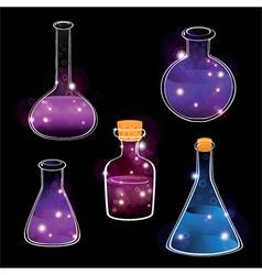 Set of laboratory flasks on black background vector
