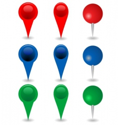 set of mapping pins vector image