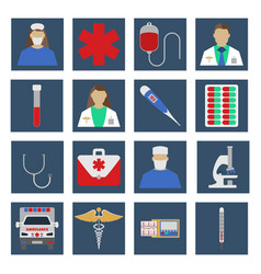 Set of medical object flat icon vector