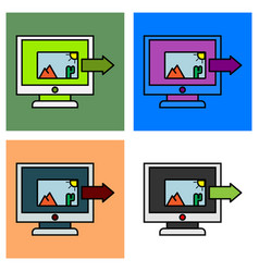 Set of photos icon on laptop screen multimedia vector