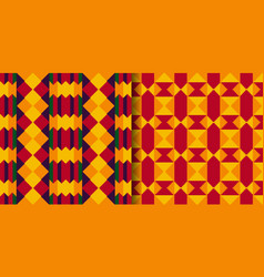 Set tribal seamless patterns cloth kente vector