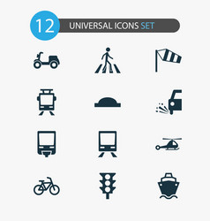 shipment icons set with zebra crossing moped vector image
