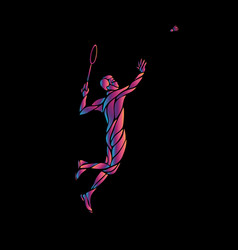 silhouette of abstract badminton player on black vector image