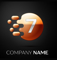 silver number seven logo gold dots splash bubble vector image