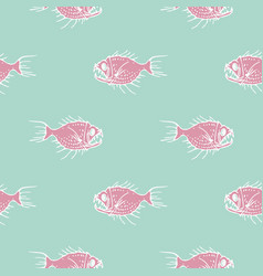 Simple pattern with pink fishes vector