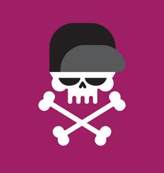 skull in baseball cap isolated head of skeleton vector image