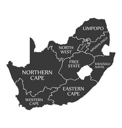 South africa map labelled black vector