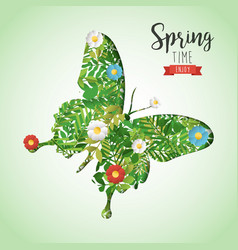 Spring time butterfly paper cutout greeting card vector