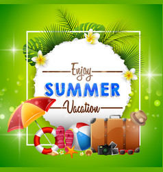 summer holiday banner on green background vector image