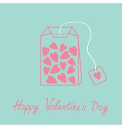 Teabag with hearts Love card Blue and pink vector