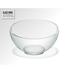 Transparent glass bowl isolated realistic vector