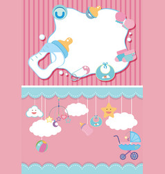 Two background template with baby items vector
