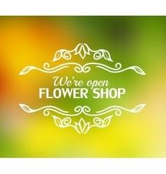 vintage badge for flower shop vector image