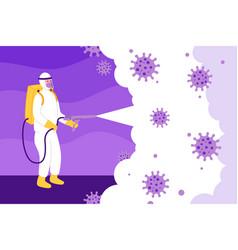 Virus disinfection concept man in hamzat suit vector
