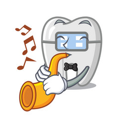 With trumpet braces in a cartoon shape vector