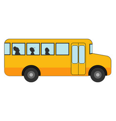 yellow bus on white background vector image