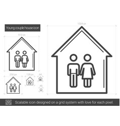 Young couple house line icon vector