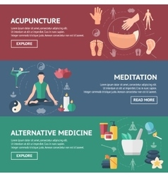 Acupuncture Banner Set vector image
