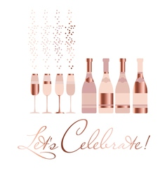 assorted sparkling wine glasses and bottles vector image