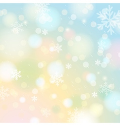 Bright shine background with bokeh and snowflakes vector image vector image