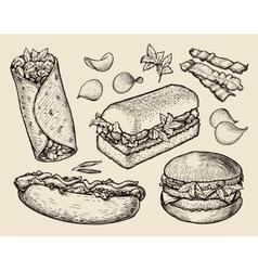 fast food hand drawn cheeseburger burritos ham vector image vector image
