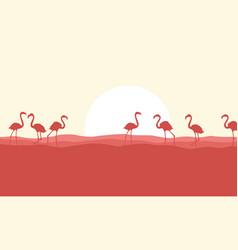 many flamingo scene silhouette style vector image vector image