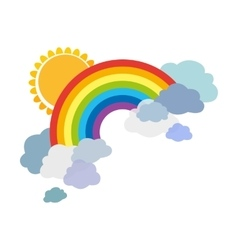 Colored rainbows with clouds and sun Cartoon vector image vector image