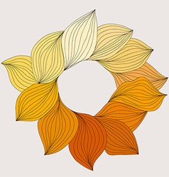 Wreath from yellow leaves Template for wedding vector image