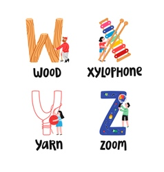 Alphabet letters w to z vector image