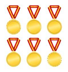 Golden Medals with Ribbons vector image