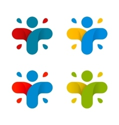 Isolated abstract colorful cross logo set Human vector image vector image