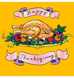 thanksgiving turkey sketch vector image vector image